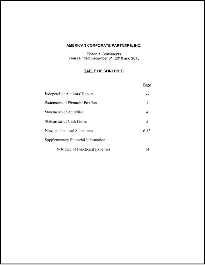 Financials Contents